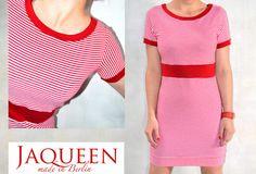 Minikleider - Kleid Streifen rot weiß Baumwolle - ein Designerstück von JAQUEEN-handmade-streetwear-berlin bei DaWanda