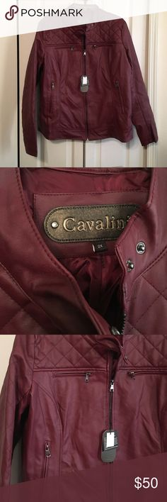 Burgundy Ladies Faux Leather Jacket 2X NWT NWT Ladies Jacket Jackets & Coats
