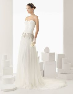 1920's vintage inspired strapless dropped waist wedding gown from the Rosa Clara Spring 2014 Collection