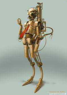 Steampunk Star Wars - 3CPO Drawing Illustration by Bjorn Hurri