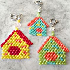 Here is a set of 3 seed bead birdhouse charms in fun colors. Charms are handwoven with size 11 Japanese seed beads and can be used as pendants or
