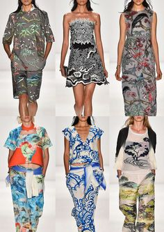 Top Runway #Fashion Prints And Textiles S/S 2015 Vivienne Tam #SS15: Chinese Influences – Indigo Wave Paintings – Traditional Chinese Landscapes – Embellished Monochromatic Foliage – Birds and Tropical Leaves – Appliqué on Mesh Fabric