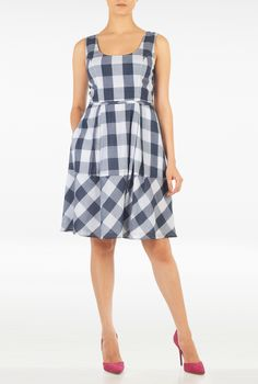 Large gingham checks vitalize our feminine fit-and-flare dress styled with a bias-cut banded hem and self-piped waist.| eShakti.com