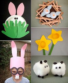 "Easter Crafts --From Molly Moo Blog   resource--busybeekidscrafts.com    Love The Bunny Hiding behind the ""hand print"" grass :O)    http://mollymoo.ie/2011/03/easter-crafts/"