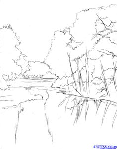 How to draw a realistic river Step1-Step 8 and shade it too