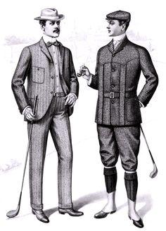 Fashion plate of men's golfing clothes, from the Sartorial Arts Journal, New York. Đây là hình ảnh những người đàn ông trong trang phục chơi golf, họ thường mặc gần như chỉ 1 kiểu form dáng giống nhau, không có gì đặc sặc