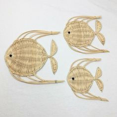Check out what I'm selling on Mercari! Vintage Set Of Three Wicker Fish Baskets On Wall, Hanging Baskets, Craft Accessories, Seashell Crafts, Pin Cushions, Basket Weaving, Wicker, Arts And Crafts, Handmade Gifts
