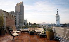 Rooftop deck overlooking San Francisco at Hotel Vitale