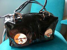 Mimco Genuine Black Patent Leather Turnlock Handbag Bag Tote Purse Rose Fittings