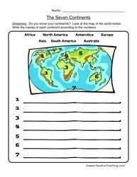 Geography Blog: Geography Worksheets - Continents and Oceans