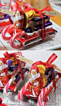 Chocolate Candy Santa Sleighs Tutorial - 12 Wondrous DIY Candy Cane Sleigh Ideas That Will Leave Your Kids Open-Mouthed christmas cookies, christmas presents for sister, christmas presents for daddy Christmas Candy Crafts, Easy Diy Christmas Gifts, Christmas Projects, Kids Christmas, Holiday Crafts, Candy Cane Crafts, Diy Kid Gifts, Diy Christmas Table Decorations, Chocolate Christmas Gifts