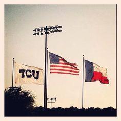 TCU's Lupton Stadium; flags on gameday for TCU baseball