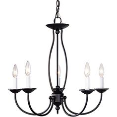 5 Light Versatile Colonial Crystal Candle-Style Chandelie...