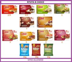 Ryvita slimming world syn values Slimming World Healthy Extras, Slimming World Syn Values, Slimming World Treats, Slimming World Snacks, My Slimming World, Slimming Eats, Slimming World Recipes, Dukan Diet Recipes, Cooking Recipes