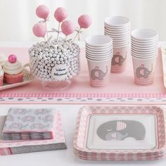 Pink Baby Elephant Baby Shower Party Supplies