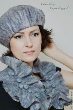 """Валяный комплект шарф и берет """"Сиреневая дымка"""" - весенняя мода,весенний комплект"""