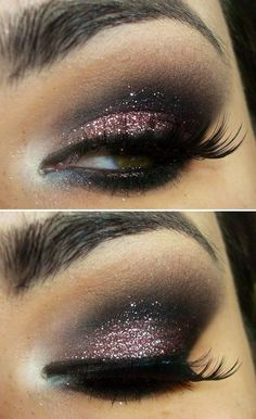 Dark smokey eyes with a pink sparkle touch