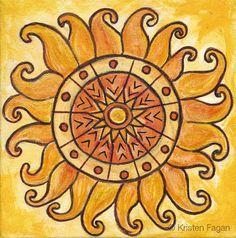 """Sun:  """"Connected in #Energy // Chakra Mandala Series,"""" by Kristen Fagan. #Sun #mandala."""