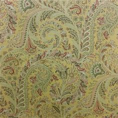 This is a green, gold, red and pink floral paisley cotton drapery fabric, suitable for any decor in the home or office. Perfect for pillows, drapes and bedding.v281TRF