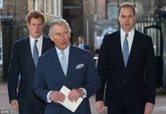 The Prince of Wales with his sons, the Duke of Cambridge and Prince Harry, arrive at the Illegal Wildlife Trade Conference