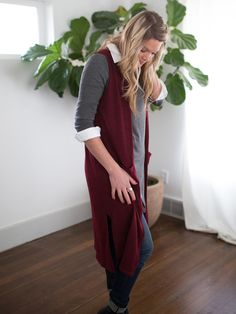 Agnes & Dora - Vest Duster Smooth Varied Wine Great layering fall outfit Maroon Burgundy Autumn Outfits Agnes and Dora by Ayano www.shopmyprettythings.com #autumn #agnesanddora #basic #duster #fashion #trendy #chic