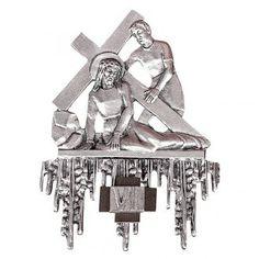Vía Crucis latón plateado 15 estaciones 26 x 31 cm | venta online en HOLYART