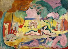 """Henri Matisse - """"La alegría de vivir"""" (1905-1906, óleo sobre lienzo, 176 x 240 cm, Barnes Foundation, Philadelphia)  Ayer veíamos la primera obra fauvista de Henri Matisse, Lujo, calma y voluptuosidad. Hoy os traigo su obra más fauvista. Curiosamente,..."""