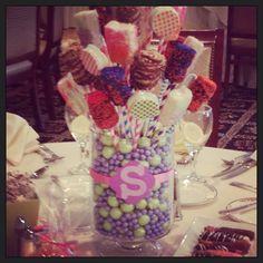 Bat mitzvah candy centerpiece. Bat Mitzvah Decorations, Bat Mitzvah Centerpieces, Candy Centerpieces, Centrepieces, Centerpiece Ideas, Party Themes, Party Ideas, Sweet 16 Parties, Candy Land