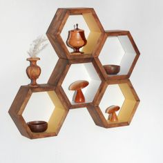 "Honeycomb Shelves Set of 5 Custom Finished by HaaseHandcraft, $95.00 9"" $195 in reclaimed walnut"
