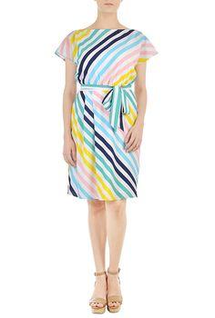 I <3 this Vibrant stripe print crepe sash tie dress from eShakti