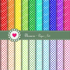 HEARTS - Digital Papers - Printable - Colorful - Rainbow - Scrapbooking - Cardmaking - Invitations - DIY Proyects - 1350