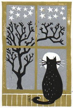 Cat Moon and Stars by sheekart on Etsy