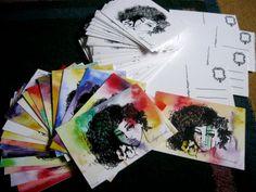 Begominola - Postcards (serigraphy and watercolor)