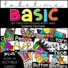 Classroom Supply Organization Labels