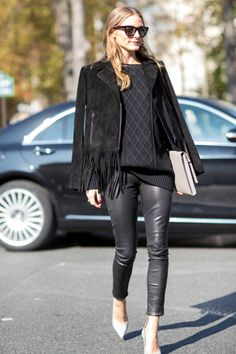 Olivia Palermo Black on Black Fringe Leather