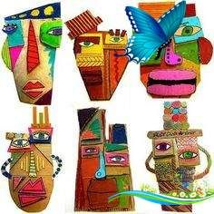 25 Picasso Inspired Art Projects For Kids cardboard masks                                                                                                                                                                                 More<br> These art project are perfect for the art lover in your life! Art is a great way for kids to communicate, to explore their world, and to build a better understanding of their own creativity. These 25 Picasso Inspired Art Projects for Kids are a great… Diy Projects With Cardboard, Projects For Kids, Art Projects, Kids Crafts, Kids Diy, Decor Crafts, Art Crafts, Kunst Picasso, Art Picasso
