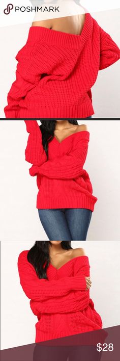 ⭐️BRAND NEW- Cable Knit Oversized Sweater⭐️ Brand new still in the package. Size S/M. Has a V neckline. Over sized Cable Knit Sweater. Fashion Nova Sweaters V-Necks