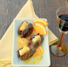 A fancy appetizer of stuffed dates can be super-quick when stuffed with aged Cheddar cheese and served with a savory-sweet orange fennel sauce. Fancy Appetizers, Healthy Appetizers, Appetizer Recipes, Appetizer Ideas, Snack Recipes, Date Recipes, Great Recipes, Favorite Recipes, Deglet Nour