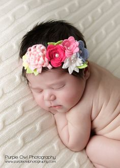 Spring Felt Flower Garland Headband . Baby Headband . With Flowers in Pinks, Blue, White and Yellow  Photo Prop