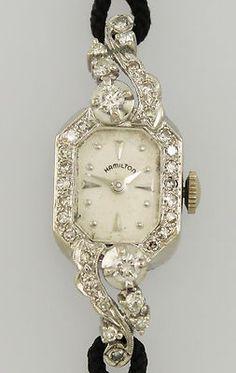 14kt white gold and diamonds Hamilton vintage watch on Ebay