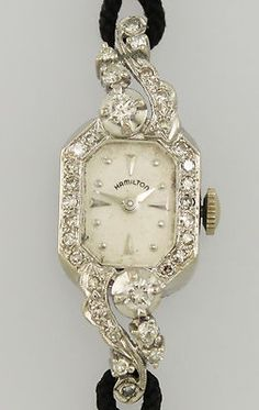 14kt white gold and diamonds Hamilton vintage watch on Ebay