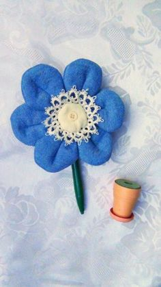 Flower Pen Magnet, Hand Made Shabby Chic Blue Jean with Tatted Lace