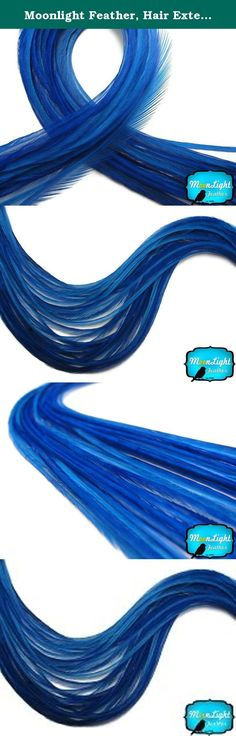 Moonlight Feather, Hair Extension Feathers - Solid Royal Blue - 11.5+ Inches Long, 6 Pieces. This listing is for 6 individual extra-long premium quality genetic rooster hair extension feathers that is widely used for feather extensions because they are very long, flexible and is comfortable to put in your hair. These super long feathers range from 11.5 inches and up. They can be as fine or thin as 1mm - 2mm.Our royal blue is of a bright navy color, it looks absolutely majestic in all hair...