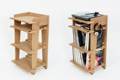 Line Phono Turntable Station Turntable Stand + Vinyl Record Storage, Made In The USA - Natural Colorway Record Player Console, Vinyl Record Player, Vinyl Record Storage, Vinyl Records, Record Stand, Lp Storage, Vynil, Muebles Art Deco, Shelving Solutions