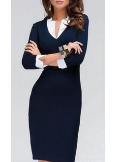 V Neck Three Quarter Sleeve Pencil Dress on sale only US$19.96 now, buy cheap V Neck Three Quarter Sleeve Pencil Dress at liligal.com