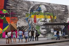 View of the implementation of the Etnias panel created by artist Eduardo Kobra, July 15, 2016. The panel will have a total area of 3000 square meters and is installed on Olympic Boulevard 2016, in downtown Rio, in the port area which has in its surrounding the Museum of Tomorrow and the VLT Carioca. (Photo by Luiz Souza/NurPhoto)