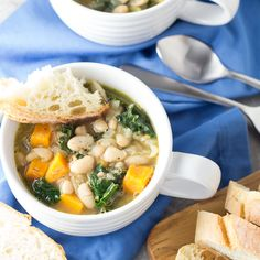 This healthy 30 Minute Tuscan White Bean and Kale Soup with sweet potatoes is vegetarian, vegan, and so easy to make! It's a warm and comforting winter meal!