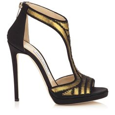 JIMMY CHOO Lana 120 Black Satin With Gold Pailettes Embroidery T-Bar Sandals. #jimmychoo #shoes #s