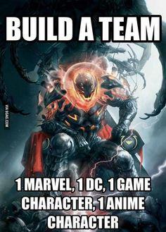 Captain America, Batman, Nathan Drake, Goku
