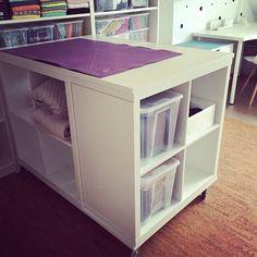made by steen neuer zuschneidetisch kallax by ikea auf rollen mit ge lter bucheplatte new. Black Bedroom Furniture Sets. Home Design Ideas